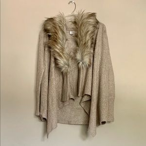 New cardigan with removable fur shawl.